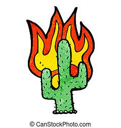 cartoon flaming cactus