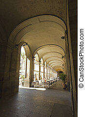 The Gothic arches of the royal square. Barcelona - The...