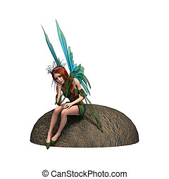 Fairy - 3D digital render of a beautiful fairy sitting on...