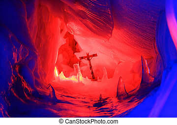 A Cross inside Natural Ice Palace - A Cross inside the...