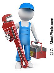 3D white people Plumber - 3d white people Plumber with pipe...