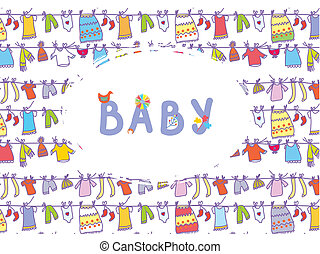 Baby shower funny card with laudry pattern