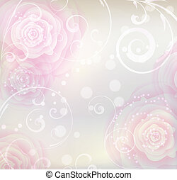 Pink roses background - Pastel colored background with pink...