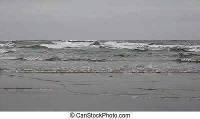 Cannon Beach Oregon Waves Closeup - Cannon Beach Oregon at...