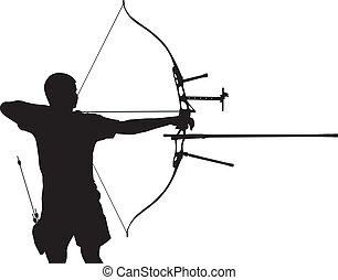 Silhouette of archer stretching the bow and aiming