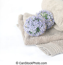 High Key Spa - High key image of flower and spa towel to...