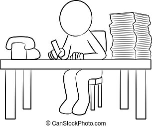 man at his desk - vector illustration of a man at work at...
