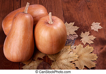 pumpkins - Autumn pumpkins with leaves on wooden board