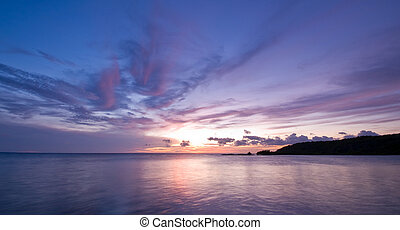 紫色, 藍色, 海, 傍晚