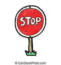 cartoon stop sign