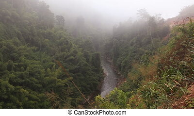 Laos River - The fog dissipates in a mountain valley Vang...
