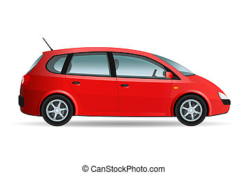 Red Minivan - Vector illustration of a minivan, family car....