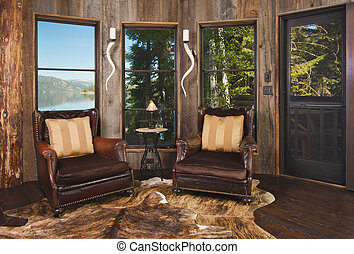 Reading Room in Rustic Cabin - Luxurious Rustic Reading Room...