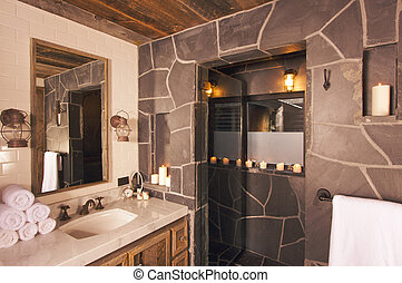 Luxury Spa Bathroom - Luxurious Rustic Bathroom with Mining...