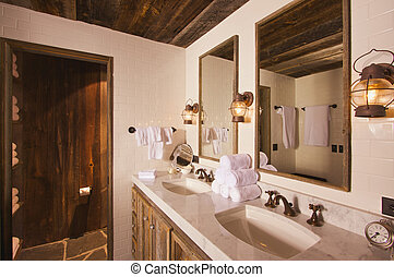 Rustic Spa Bathroom - Luxurious Rustic Bathroom with Mining...