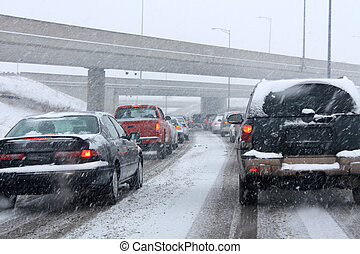 Winter Traffic - Stuck in traffic on the highway during a...