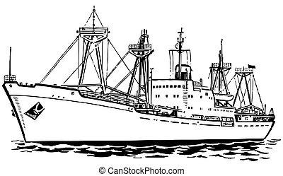 Transport ship at sea