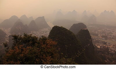 Civilization and nature. The panorama of Yangsho city...