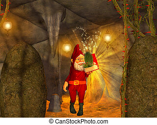 magical  cave, dwarf with magical book