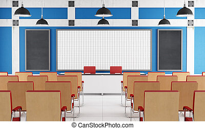 Empty lecture hall with white board and chairs