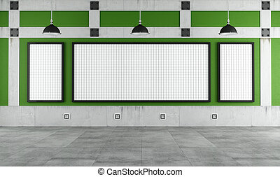 Empty university classroom with three white board -...