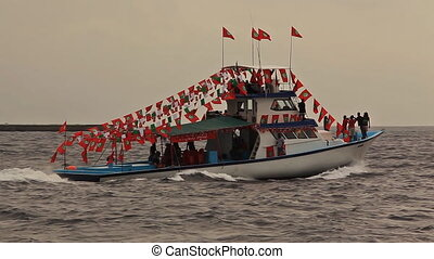 Boat Maldives. - People have excursion on a motor boat which...