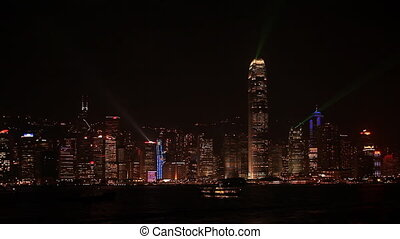 Evening light show - Evening light show in Kowloon, Hong...
