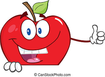 Red Apple Over Blank Sign
