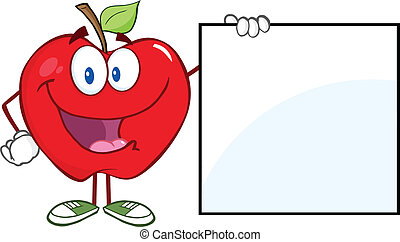 Happy Apple Showing A Blank Sign - Happy Apple Cartoon...