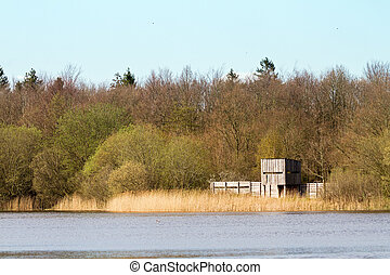 Bird watching site at a lake in the Netherlands