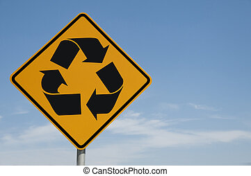 The Road Sign Series - Recycling symbol on a road sign...