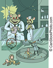 Scientific experiment - Two mice, scientists put experiments...