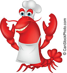 Cute lobster chef cartoon - Vector illustration of Cute...