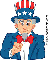 Uncle Sam cartoon wants you - Vector illustration of Uncle...