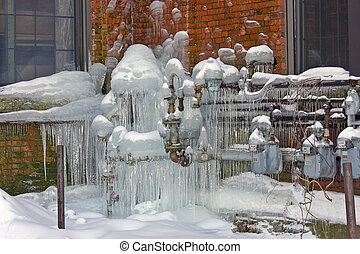 Natural Gas Meters covered in ice