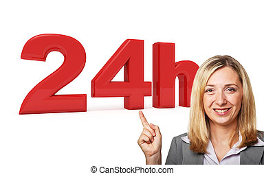 24 hours service - 3d image of 24h on smiling woman