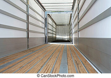 Empty trailer horizontal - Interior view of empty semi truck...