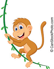 Cute monkey cartoon swinging - Vector illustration of Cute...