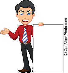Office worker cartoon with blank si - Vector illustration of...