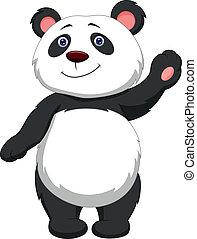 Cute panda cartoon waving - Vector illustration of Cute...