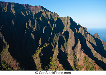 Wrinkled cliff face on Na Pali coast in Kauai - Close up of...