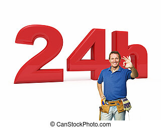 24 hours handyman service - 3d image of 24h and handyman