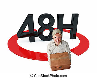 fast delivery - delivery man and 3d 48h text