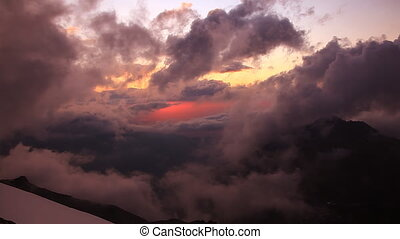 Sunset in Tian-Shian mountains. - Sunset in Tian-Shian...