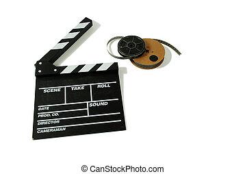 Movie marker board and film - Reels of antique movie film...