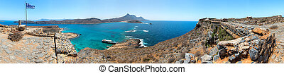 Panorama of Gramvousa , westernmost peninsula of Crete in...