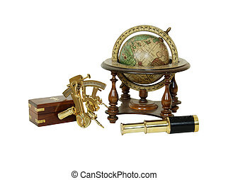 Tools for travel - Brass Sextant used for navigating by the...