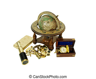 Search for fortune - Gold pocket watch with a metal chain,...