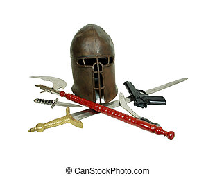 Outdated ironic weaponry - Medieval items and period armor...