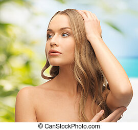 beautiful woman on nature - beauty and eco cosmetology...
